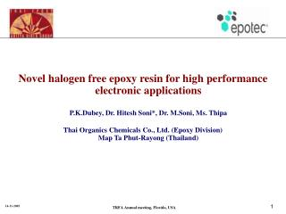 Novel halogen free epoxy resin for high performance electronic applications