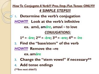 How To Conjugate A Verb !!! Pres./Imp./Fut. Tenses ONLY!!!