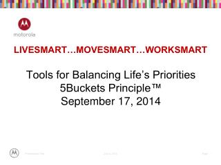 Tools for Balancing Life's Priorities 5Buckets Principle™ September 17, 2014