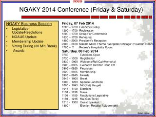 NGAKY 2014  Conference (Friday & Saturday)
