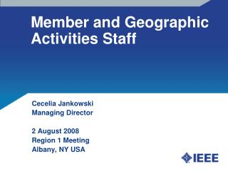 Member and Geographic Activities Staff