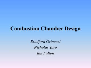 Combustion Chamber Design
