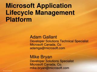 Microsoft Application Lifecycle Management Platform