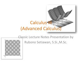 Calculus III (Advanced Calculus)