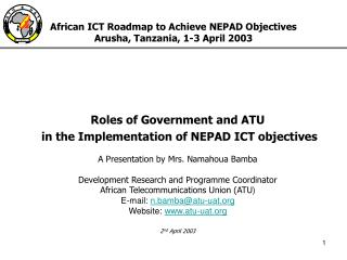 African ICT Roadmap to Achieve NEPAD Objectives Arusha, Tanzania, 1-3 April 2003