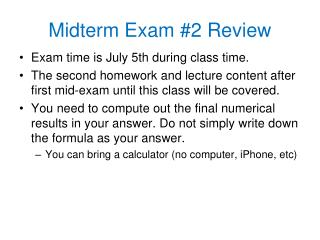 Midterm Exam #2 Review