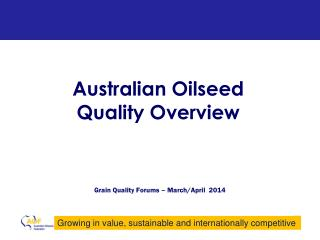 Australian  Oilseed  Quality Overview