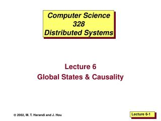 Computer Science 328 Distributed Systems