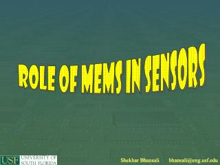 Role of MEMS in sensors