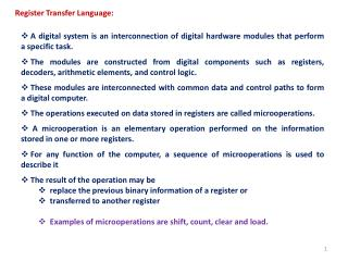 Register Transfer Language: