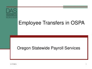 Employee Transfers in OSPA