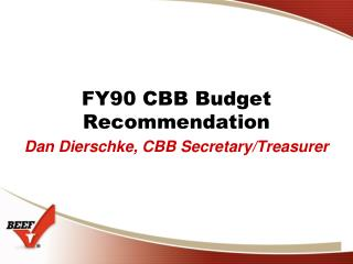 FY90 CBB Budget Recommendation