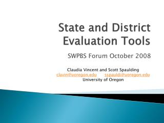 State and District Evaluation Tools