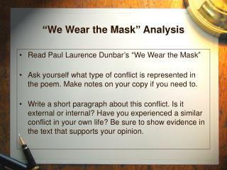 """We Wear the Mask"" Analysis"