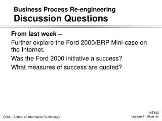 Business Process Re-engineering Discussion Questions