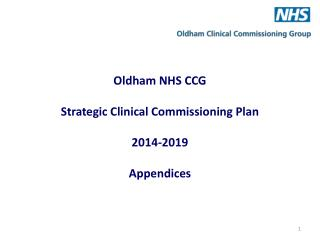 Oldham NHS CCG Strategic Clinical Commissioning Plan 2014-2019 Appendices