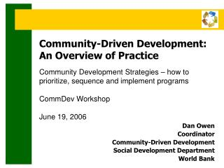 Community-Driven Development:       An Overview of Practice