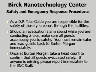 Safety and Emergency Response Procedures