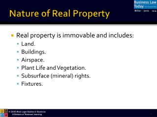 Nature of Real Property