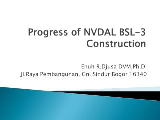 Progress of NVDAL BSL-3 Construction