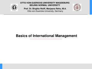 Basics of International Management