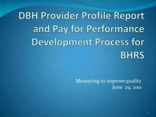 DBH Provider Profile Report and Pay for Performance Development Process for BHRS