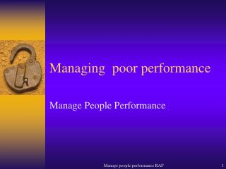 Managing  poor performance