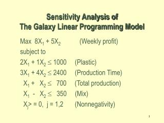 Sensitivity Analysis of  The Galaxy Linear Programming Model