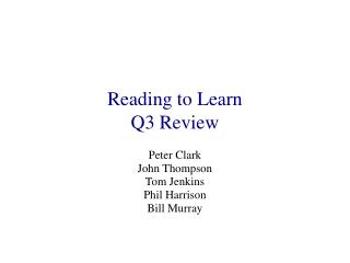 Reading to Learn Q3 Review