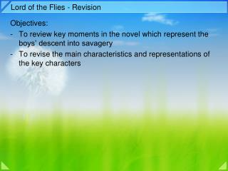 Lord of the Flies - Revision