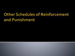 Other Schedules of Reinforcement and Punishment