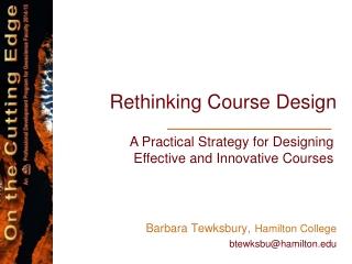 Rethinking Course Design