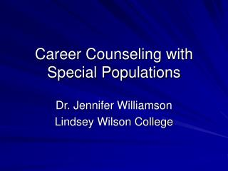Career Counseling with Special Populations