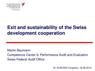 Exit and sustainability of  the Swiss  development  cooperation