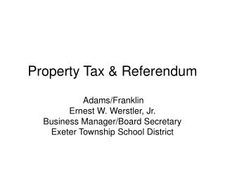 Property Tax & Referendum