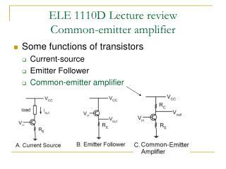 ELE 1110D Lecture review Common-emitter amplifier