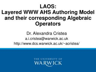 LAOS: Layered WWW AHS Authoring Model and their corresponding Algebraic Operators
