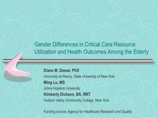 Gender Differences in Critical Care Resource Utilization and Health Outcomes Among the Elderly