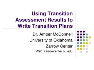 Using Transition Assessment Results to Write Transition Plans