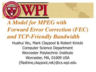 A Model for MPEG with Forward Error Correction (FEC) and TCP-Friendly Bandwidth