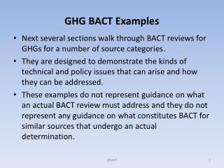 GHG BACT Examples