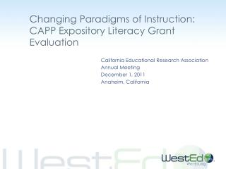Changing Paradigms of Instruction: CAPP Expository Literacy Grant Evaluation