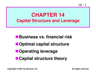CHAPTER 14 Capital Structure and Leverage