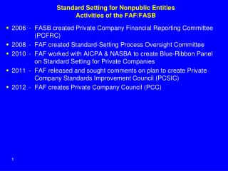 Standard Setting for Nonpublic Entities Activities of the FAF/FASB