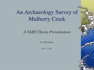 An Archaeology Survey of  Mulberry Creek