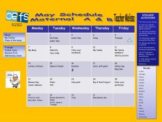 May Schedule Maternal A & B