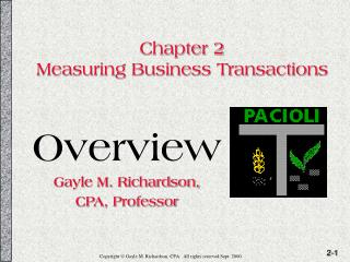 Chapter 2 Measuring Business Transactions
