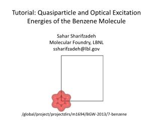 Tutorial:  Quasiparticle  and Optical Excitation Energies of the Benzene Molecule