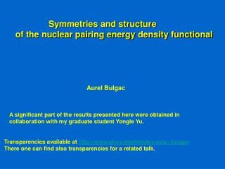 Symmetries and structure  of the nuclear pairing energy density functional