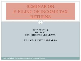 SEMINAR ON  E-FILING OF INCOME TAX RETURNS